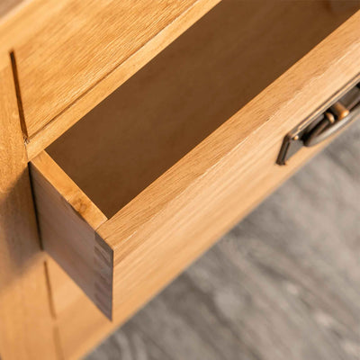 Inside of drawer - Surrey Oak waxed 5 drawer wide chest