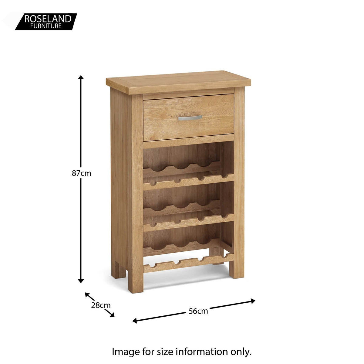 London Oak Wine Cabinet - Size guide