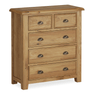 Canterbury Oak 2 Over 3 Drawer Chest