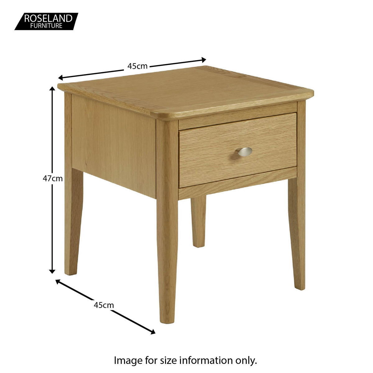 Alba Oak Lamp Table - Size guide