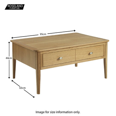 Alba Oak Coffee Table - Size guide