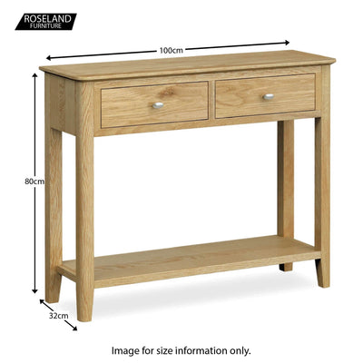 Alba Oak Console Table - Size guide