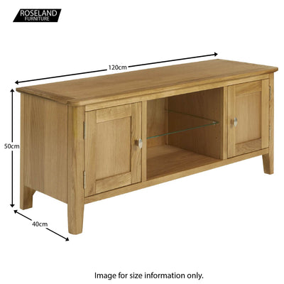 Alba Oak Large 120cm TV Stand Unit - Size guide