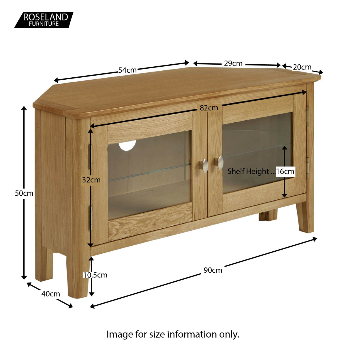 Alba Oak Corner TV Stand - Size guide