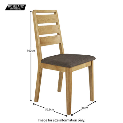 Alba Oak Ladder Back Dining Chair - Size guide