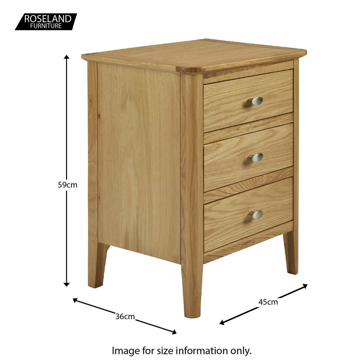 Alba Oak 3 Drawer Bedside Table Unit - Size guide