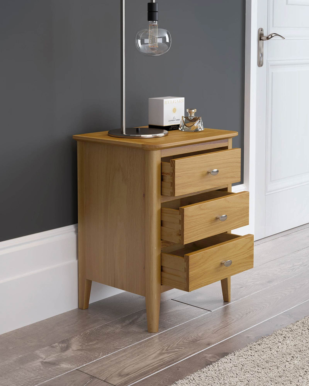 Alba Oak 3 Drawer Bedside Table Unit lifestyle view 2