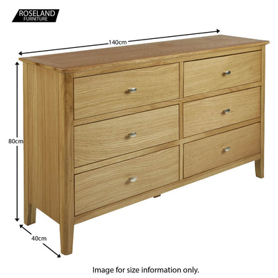 Alba Oak 6 Drawer Chest of Drawer Unit - Size guide