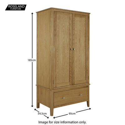 Alba Oak Double Wardrobe with Drawer - Size guide
