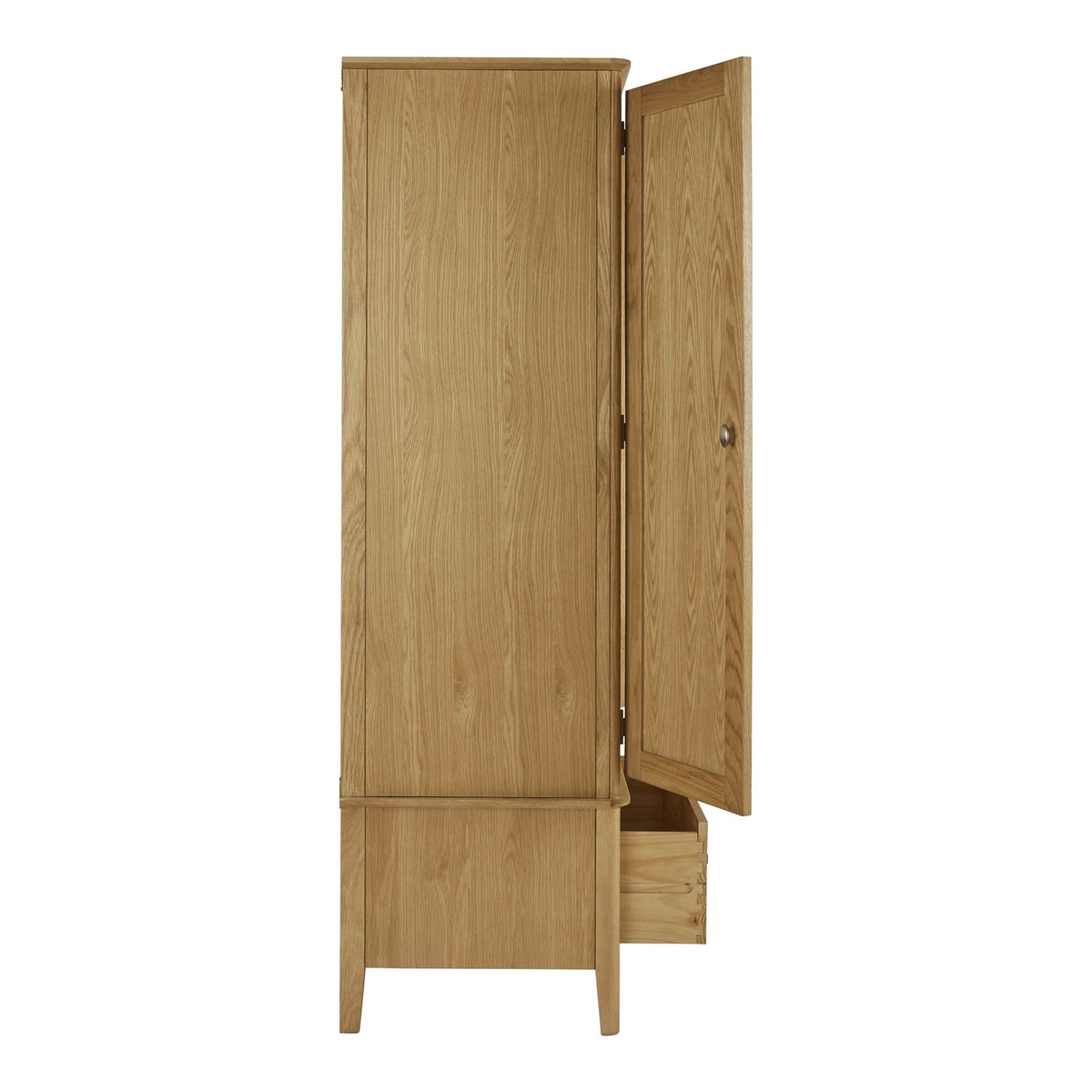 Alba Oak Double Wardrobe with Drawer side view