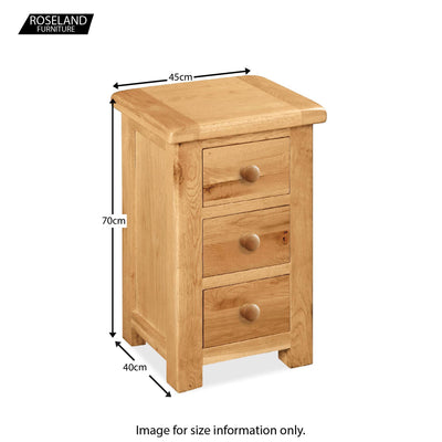 Sidmouth Oak 3 Drawer Bedside Table - Size Guide