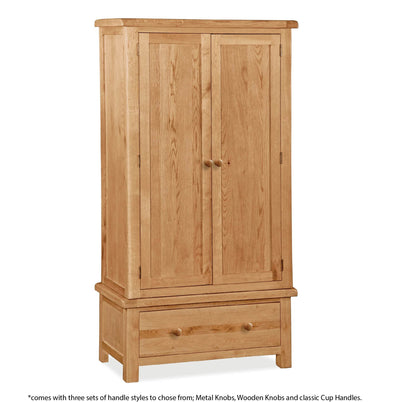 Sidmouth Oak Double Wardrobe With Drawer - With Handle Information
