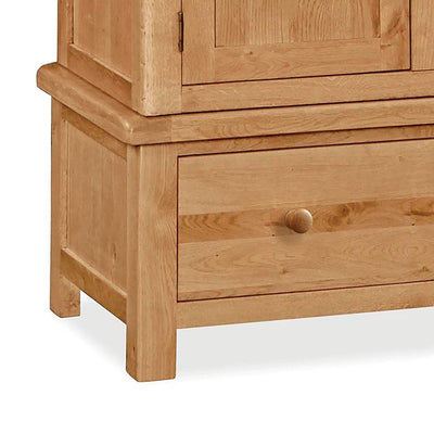 Sidmouth Oak Double Wardrobe With Drawer - Close Up of  Feet