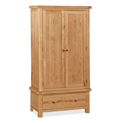 Sidmouth Oak Double Wardrobe With Drawer by Roseland Furniture