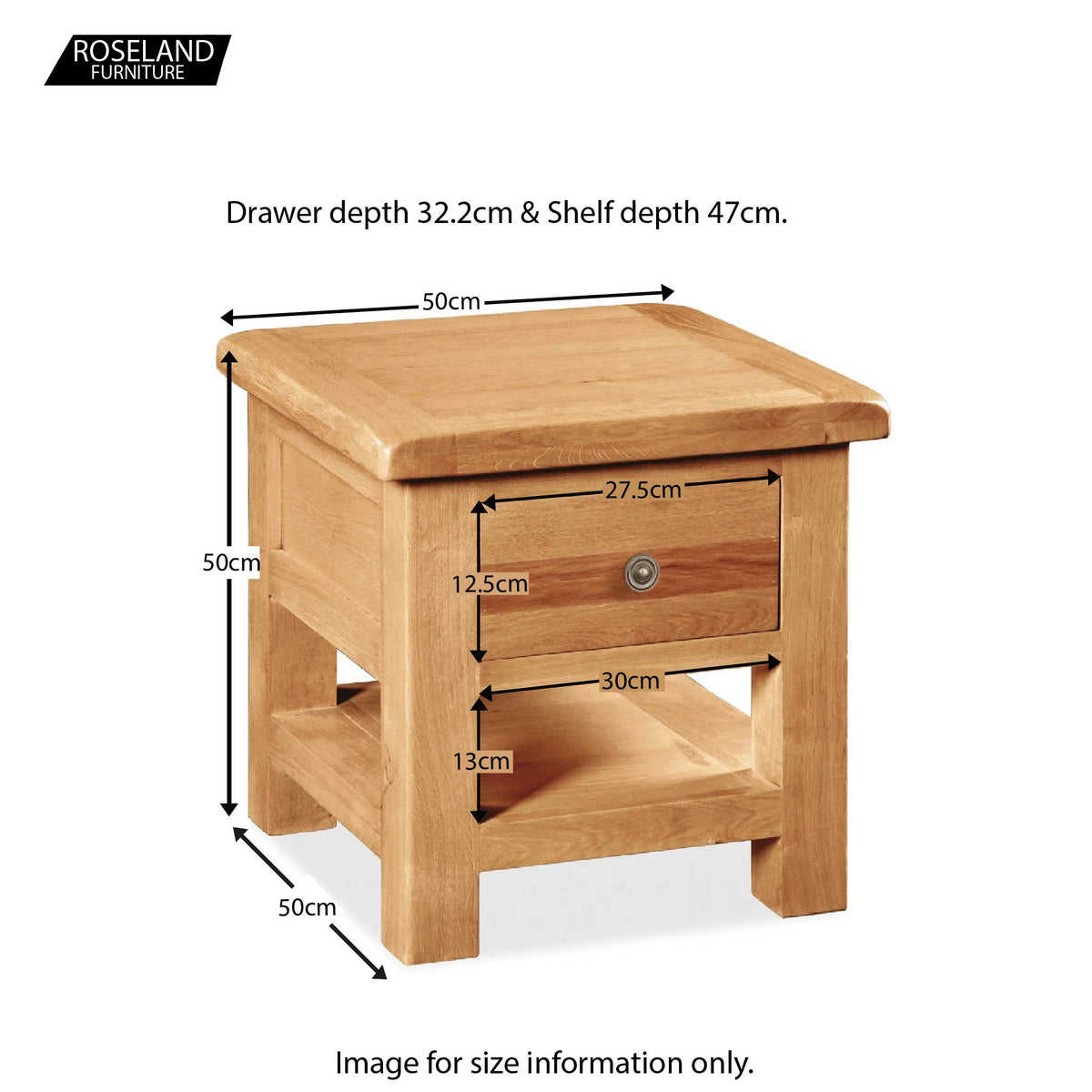 Sidmouth Oak Lamp Table - Size Guide