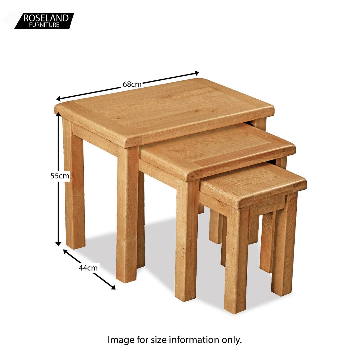 Sidmouth Oak Nest Of Tables - Size Guide