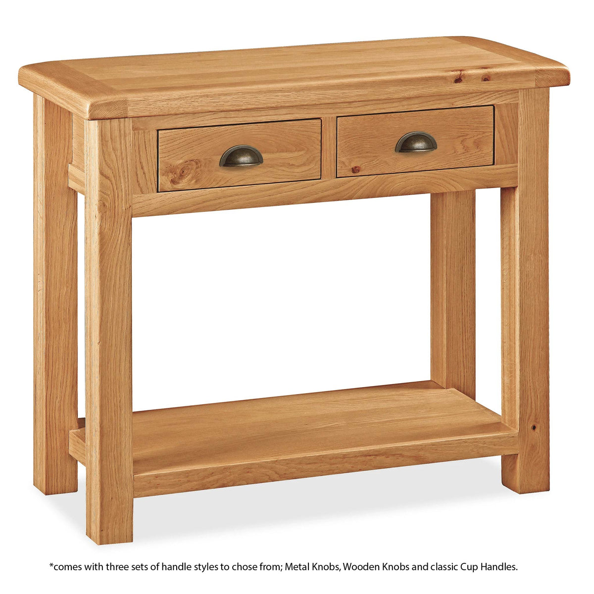 Sidmouth Oak Console Table - With Handle information