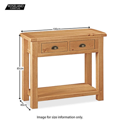 Sidmouth Oak Console Table - Size Guide