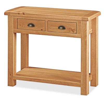Sidmouth Oak Console Table with Two Drawers and Lower Shelf