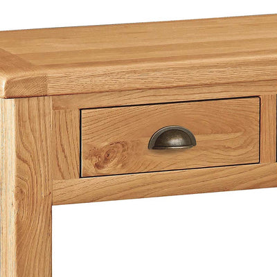 Sidmouth Oak Console Table - Close Up of Drawer