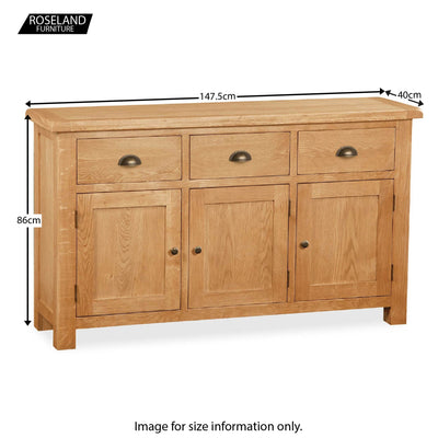 Sidmouth Oak Large Sideboard - Size Guide