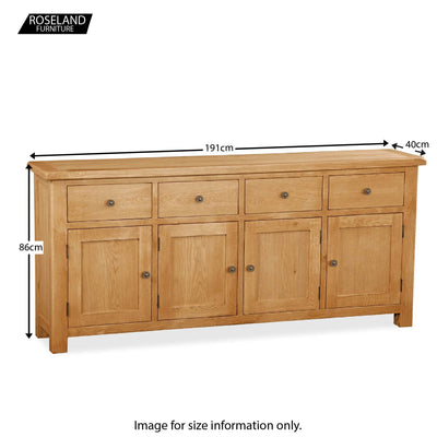 Sidmouth Oak Extra Large Sideboard - Size Guide