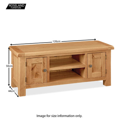 Sidmouth Oak 120cm TV Stand - Size Guide
