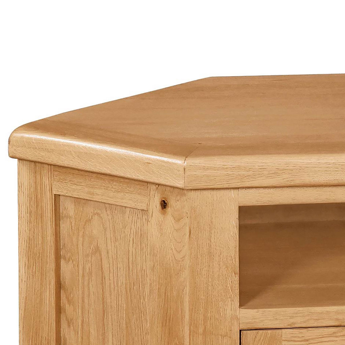 Sidmouth Oak Corner TV Stand - Close Up of Oak Top of Stand