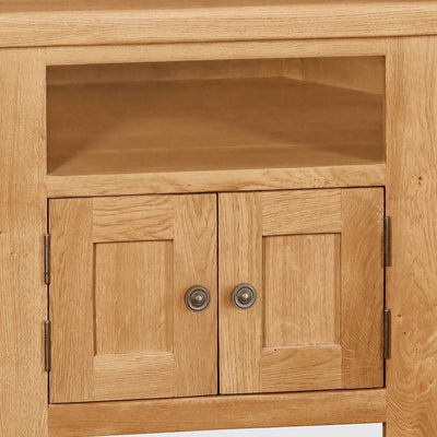 Sidmouth Oak Corner TV Stand - Close Up of Shelf and Lower Cupboard Doors