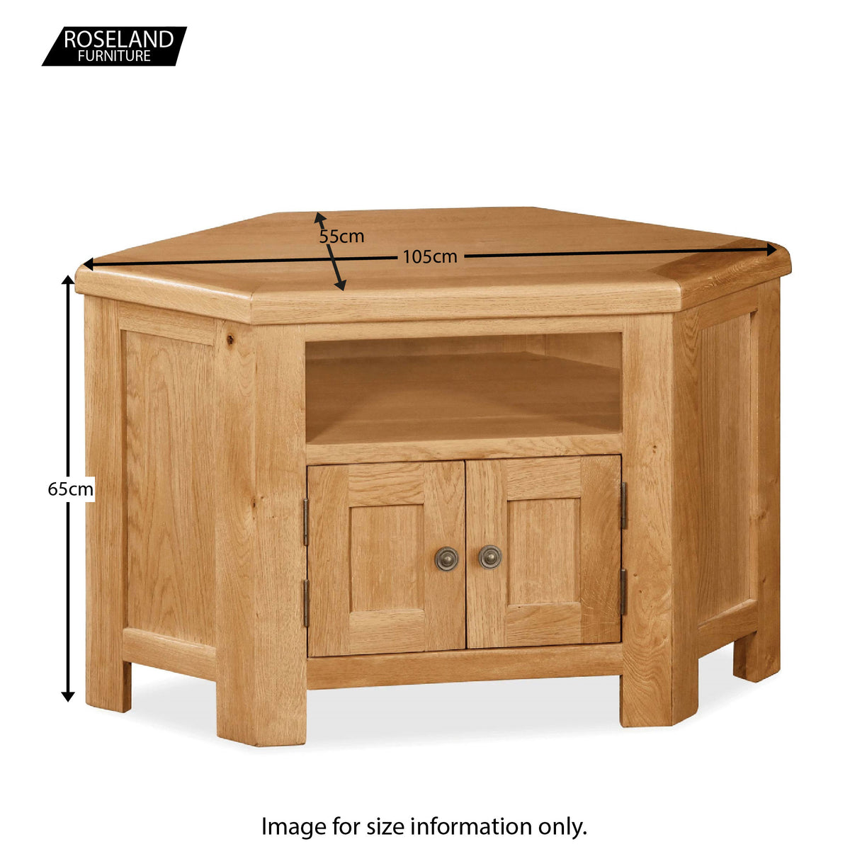 Sidmouth Oak Corner TV Stand - Size Guide