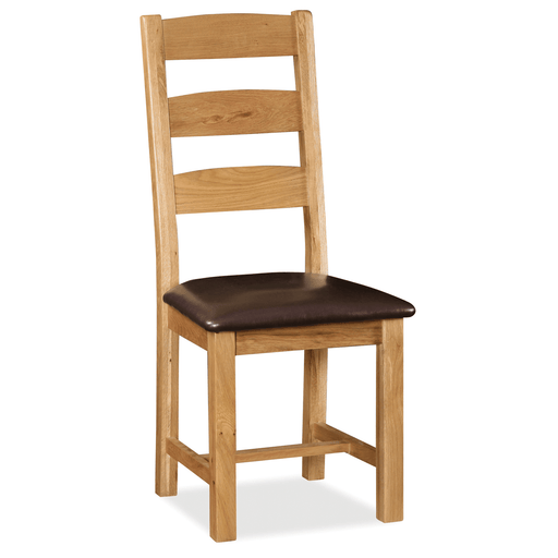 Sidmouth Oak Slatted Back Chair With Pu Seat
