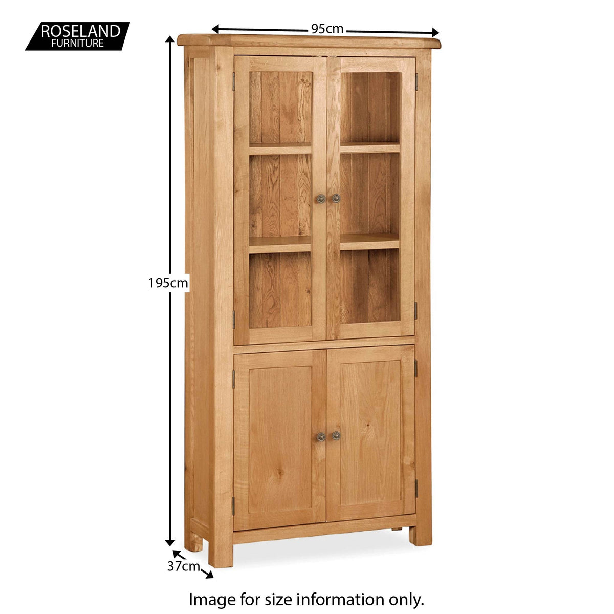 Sidmouth Oak Display Cabinet - Size Guide