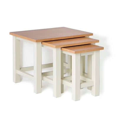 Farrow Cream Nest of 3 Tables - Side view