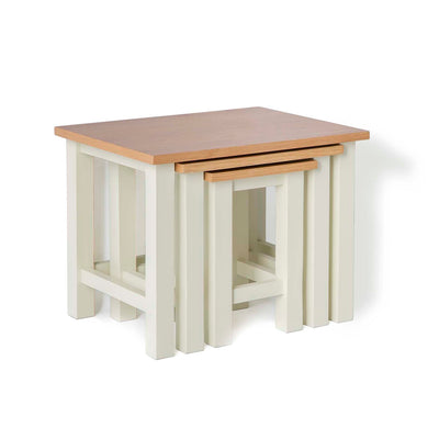 Farrow Cream Nest of 3 Tables - Nested Side View