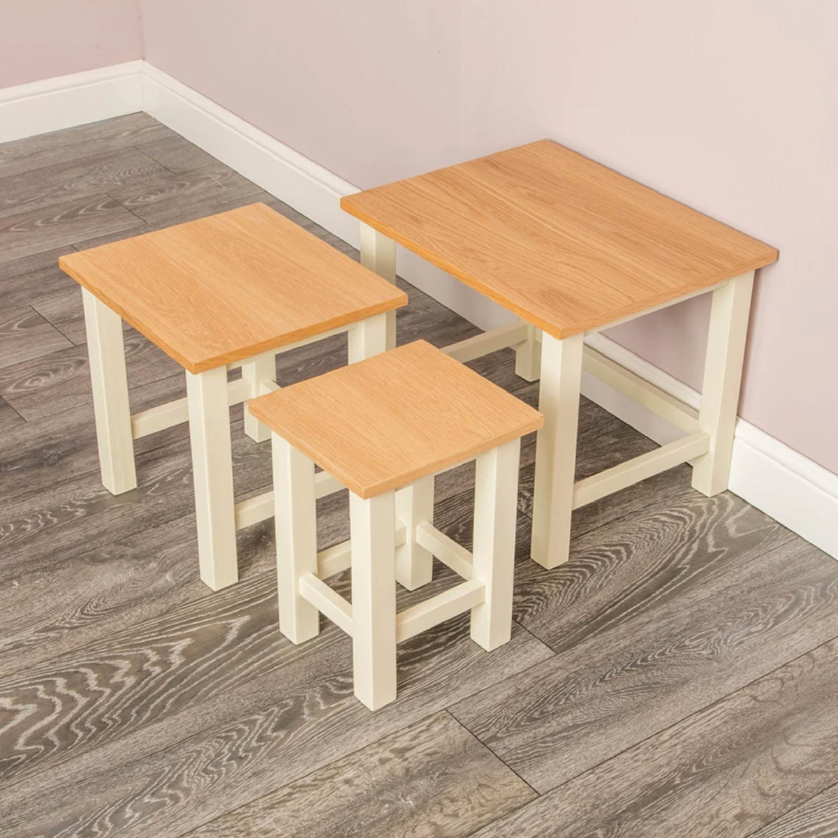 Farrow Cream Nest of 3 Tables - Lifestyle separated view