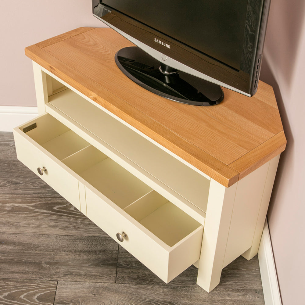 Farrow Cream Painted Corner Tv Stand For Screen Sizes Up