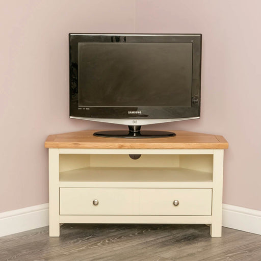 Farrow Cream 1 drawer corner TV stand unit by Roseland Furniture