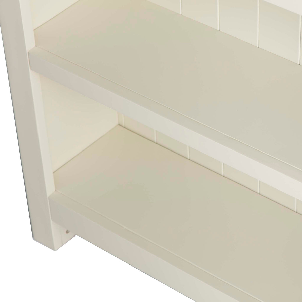 Farrow Cream Large Bookcase - Looking down on edge of shelves
