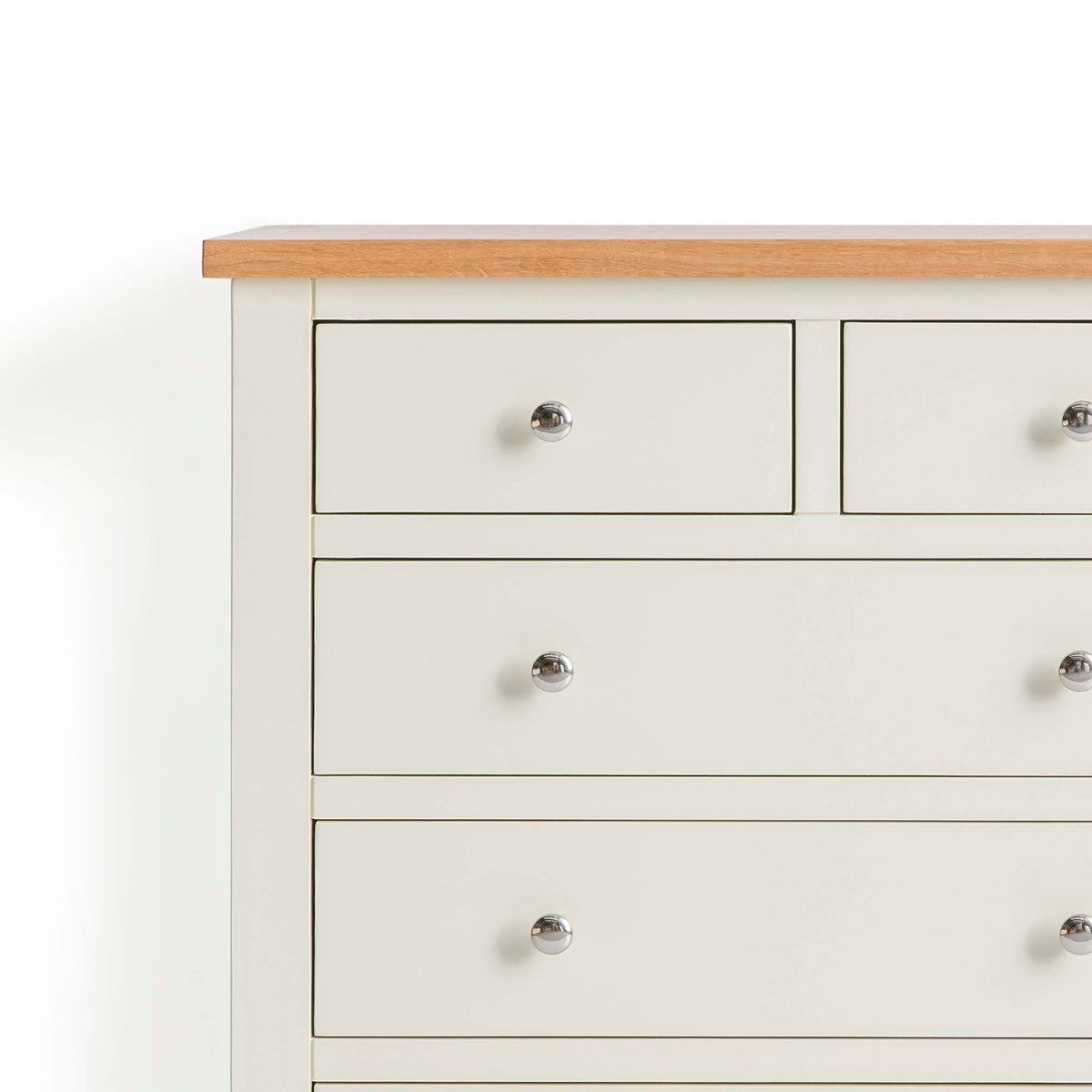 Farrow Cream 2 over 3 drawer chest of Drawers - Close up of Drawers