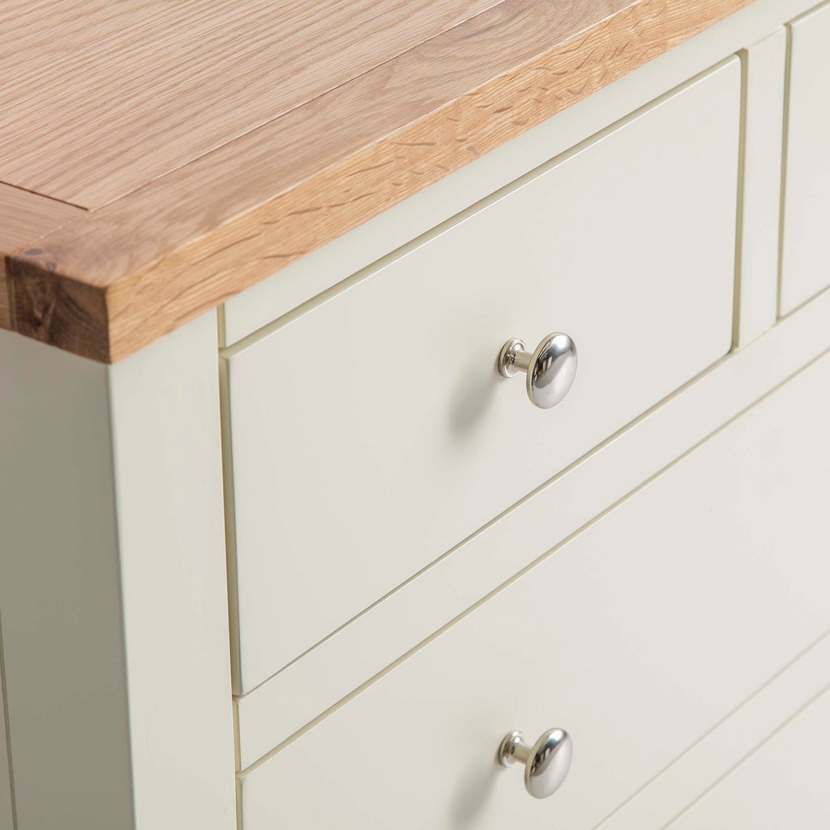 Farrow Cream 2 over 3 drawer chest of Drawers - Close up of smaller drawer