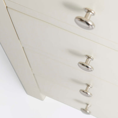 Farrow Cream 5 Drawer Tallboy Chest unit - Close up of Drawers