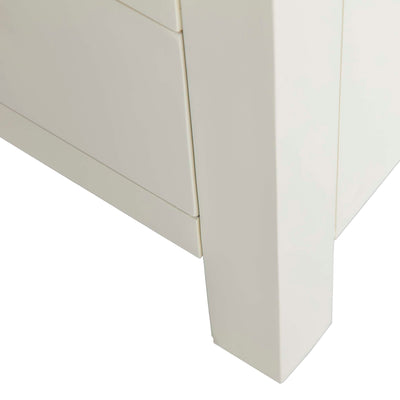Farrow Cream 5 Drawer Tallboy Chest unit - Close up of  Foot of Tallboy