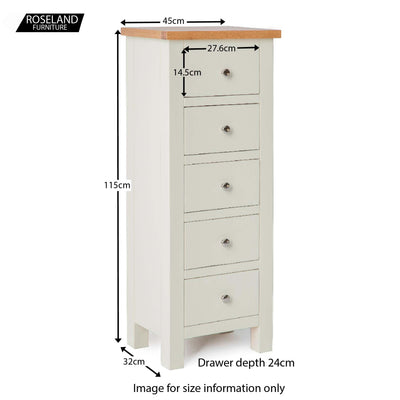 Farrow Cream 5 Drawer Tallboy Chest of Drawers - Size Guide
