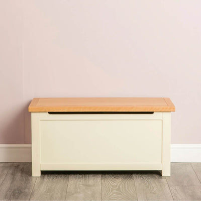 Farrow Cream Chest Blanket Box Ottoman front view