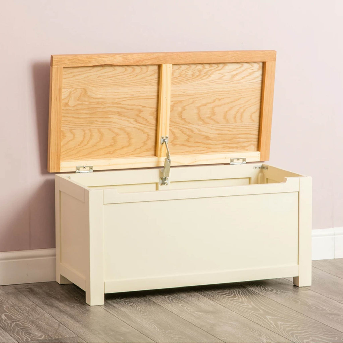 Farrow Cream Chest Blanket Box Ottoman open angle