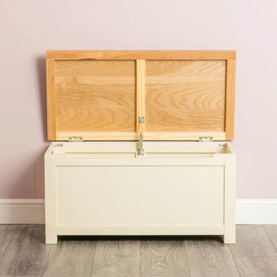 Farrow Cream Chest Blanket Box Ottoman open front view