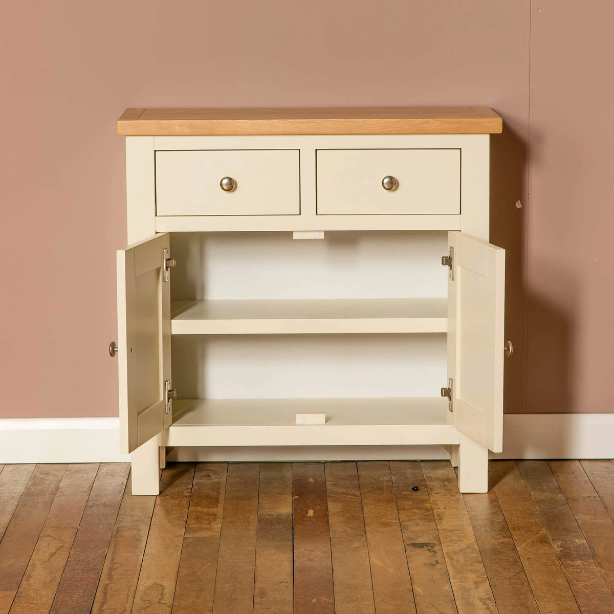 Farrow Cream 2 cupboard 2 drawer mini sideboard unit cupboard open