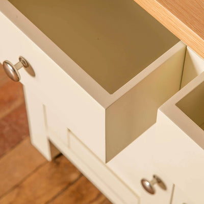 Farrow Cream 2 cupboard 2 drawer mini sideboard unit drawers open