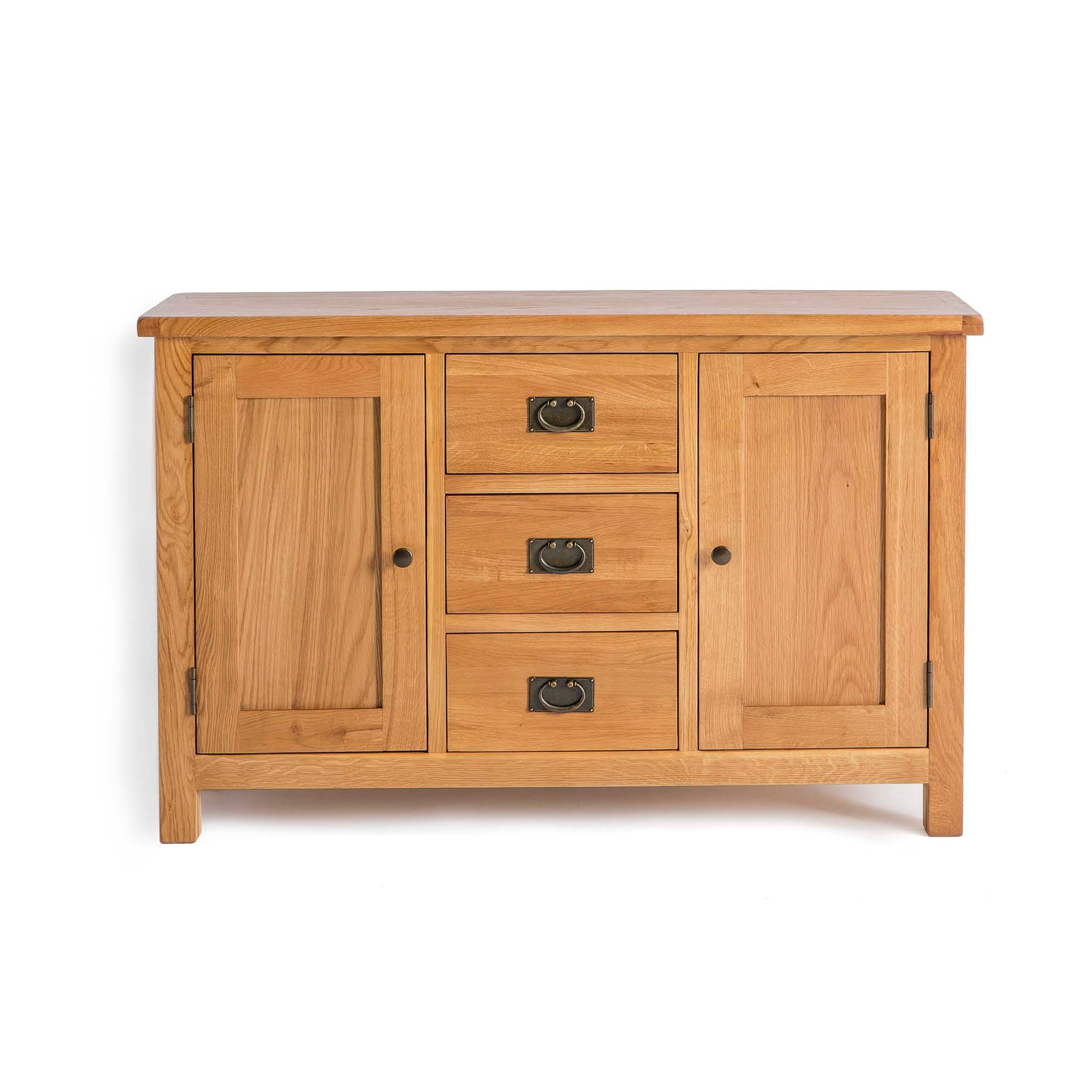 front view of the Surrey Oak 3 Drawer Sideboard by Roseland Furniture