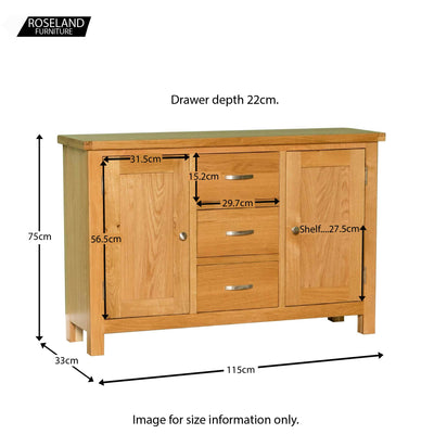 London Oak 3 Drawer Sideboard - size guide